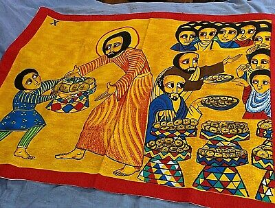 Misereor Hunger Cloth Textile Wall Hanging Religious  - Jesus Loaves and Fishes