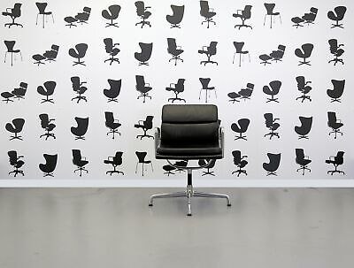Refurbished Vitra Charles Eames EA208 Office Chair - Black Leather and Polish...