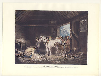 The Farmer's Stable George Morland Horses In A Stable 1906 Colour Print