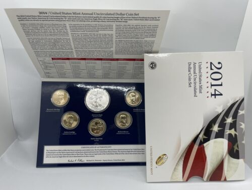2014 US Mint Annual Uncirculated Dollar Coin Set - W Burnished Silver Eagle OGP