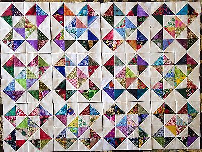 12  Color Collection Crosses and Stars Quilt Blocks 100% Cotton made in USA