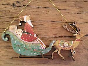 Santa In A Sleigh 'Old Time' Wood Christmas Decoration Gisela Graham Vintage