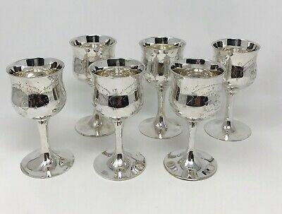 """Vintage 1900's Set of 6 Silver Plated EPNS Etched Goblets 4"""" In Fitted Box"""