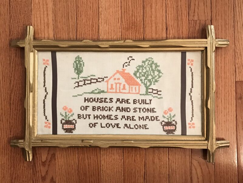 Vintage Wood Framed w/Glass Hand Embroidered House w/Verse