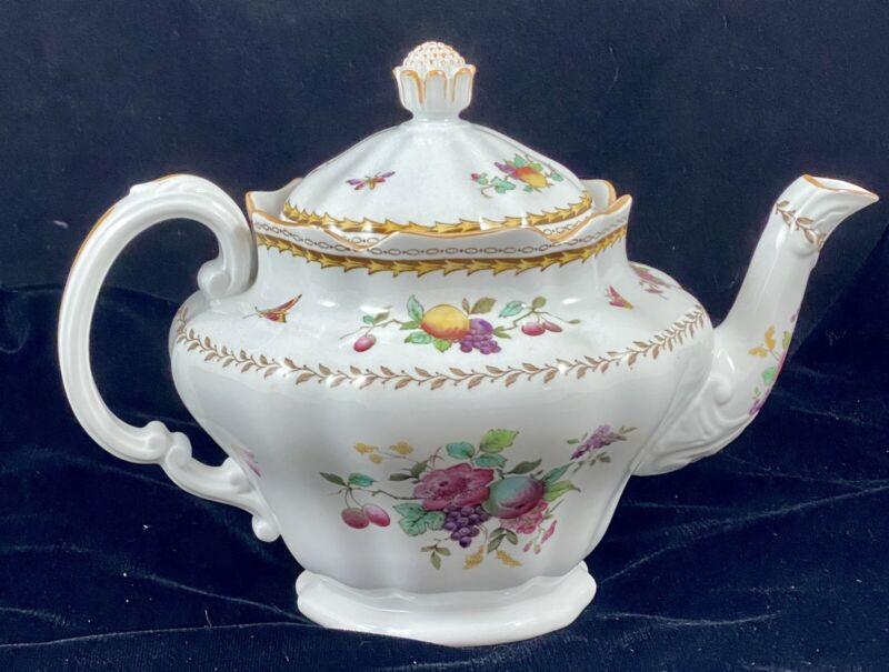 Spode Copeland China England Rockingham Fruit Flower Insect Motif Teapot & Lid