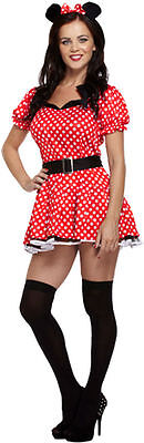 Minnie Mouse Costumes For Adults ( WOMENS SEXY MOUSE MINNIE MOUSE ANIMAL ADULTS RED  RED COSTUME FOR FANCY DRESS)