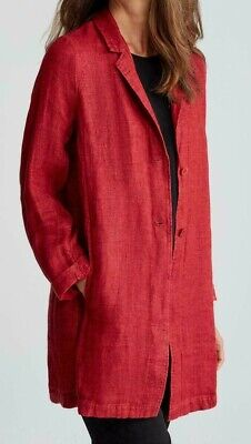 NWT Eileen Fisher Red Jacket Organic Linen size Large /P