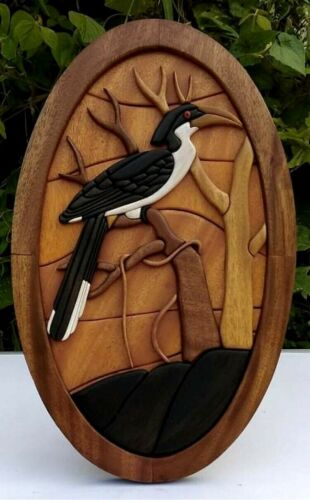 Wooden Wall Hanging Sculpture Art Decor Home Handmade Carved Statue Gift New
