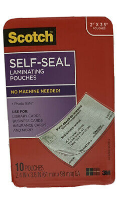 Scotch Self-seal Laminating Pouches 10pack 2 X 3.5 Pouch