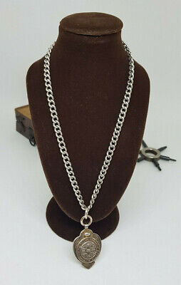 ANTIQUE SOLID SILVER ALBERT POCKET WATCH CHAIN WITH FOB 29 G.