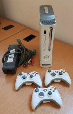 Xbox 360 Console, 3 Controllers & All Cables - Fully Tested & Working
