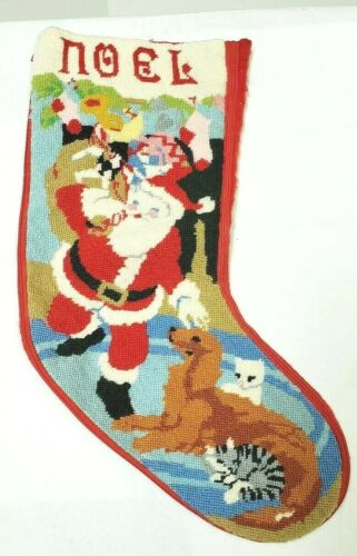 """Vintage Christmas Stocking Santa Cats Golden Retriever Zippered Embroidered 20"""""""