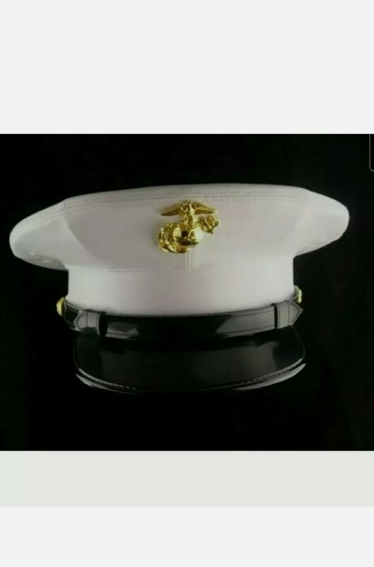 USMC Dress blues marine hat  White vinyl - never worn