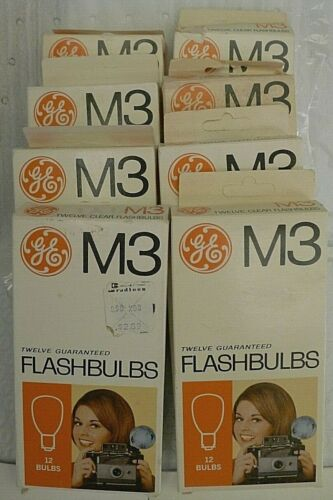 Lot of GE M3 Clear Flash Bulbs - 8 Boxes = 96 Bulbs Total