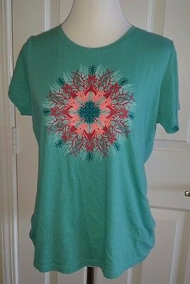 Women's Columbia Short Sleeve Turquoise Geometric Print Tee Shirt Size L