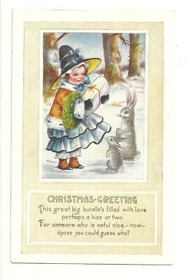 Greetings Postcards Package - Christmas Greetings Girl Rabbits Package Trees Snow  Postcard Antique