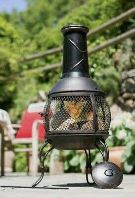 La Hacienda Tuscan Steel Chiminea Fire Pit Log Burner Patio 🔥 FREE DELIVERY 🚚