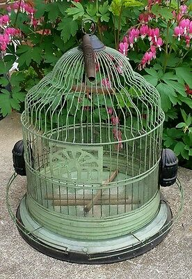 Antique Bird Cage Victorian Original Amethyst Glass Feeders Green Birdcage 40's