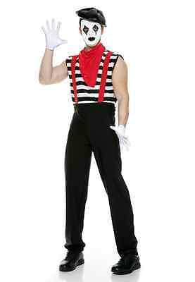 Music Legs Men's Silent Mime 6 piece striped shirt with suspender (Mime Kostüm Shirt)