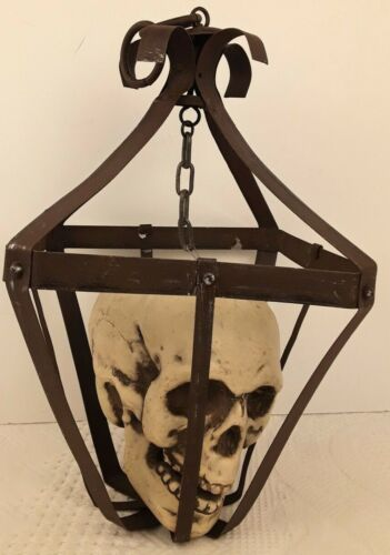 Skull in Rusted Cage Creepy Halloween Decoration Chain Hanger EUC