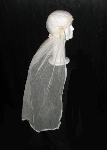 Antique Vintage Ivory Mesh Lace Trim Christening Hat Veil Cloak