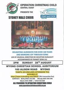 SYDNEY MALE CHOIR CONCERT FUNDRAISER 4 OPERATION CHRISTMAS CHILD Woy Woy Gosford Area Preview