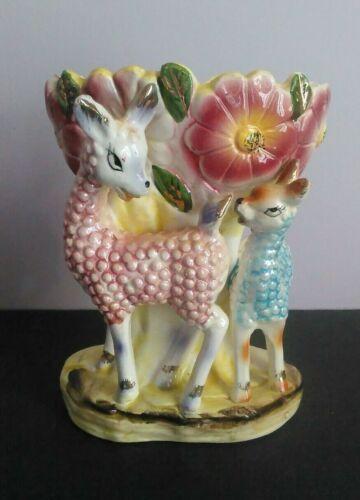 Vintage Llama Alpaca Flowers Japan Pink Blue Planter Mid Century Kitsch