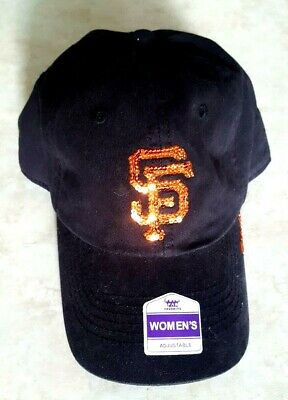 San Francisco Giants Glitter - SAN FRANCISCO GIANTS Womens Hat Sequin Sparkle Logo Cap Black Adjustable New