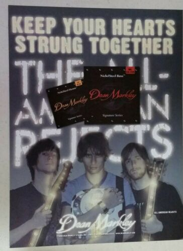 THE ALL-AMERICAN REJECTS Dean Markley Strings Full Page AD magazine clipping