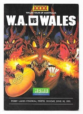 1991 - Western Australia v Wales, Touring Match Programme.