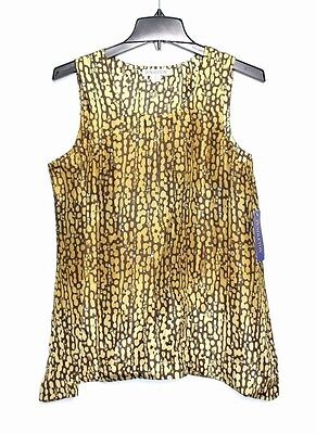 Pendleton - S - NWT $124 - Mustard Animal Print Washable Silk - Swing Tank Top