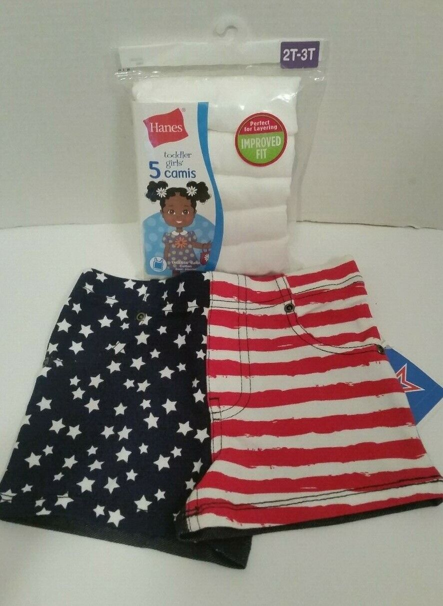 New Lot of 5! Girls HANES White 2T Cami tops Shirts & 1 Flag