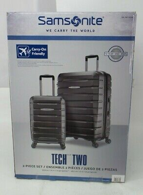 Samsonite Gray Tech Two Spinner Roller Luggage Suitcase Set Of Two