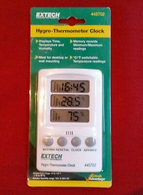 Extech Thermo-hygrometer Clock - Time Temp Humidity Minmax Clock Model 445702