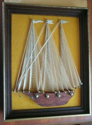 "Vtg 60s 70s Framed String Nail Art Sailboat Wall Hanging Retro Nautical 10 x 13"" for sale  Virginia Beach"