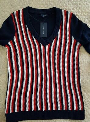 Tommy Hilfiger Women's V-neck Cotton Sweater Top NWT Sz: M MSRP $69.99