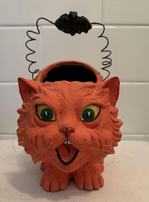 Vintage Candy Bucket Halloween Paper Mache Composition Orange Cat