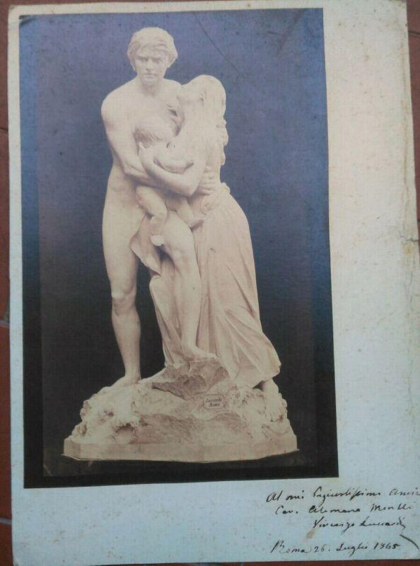 1865 Außergewöhnliche Widmung Autogrammkarte Bildhauer Vincenzo Luccardi A