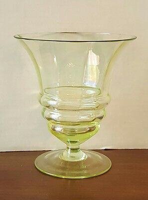 RARE ANTIQUE IRIDESCENT GREEN GLASS VASE BOWL BY JEAN BECK c.1920-30's *SIGNED