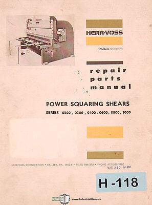 Herr Voss 0200 0300 0400 0600 0800 1000 Squaring Shears Repair Parts Manual