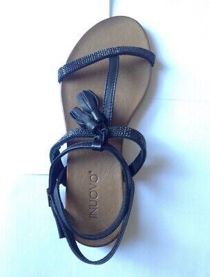 Leather Sandals Strass Black EUR 36 UK 3 Fashionable Summer
