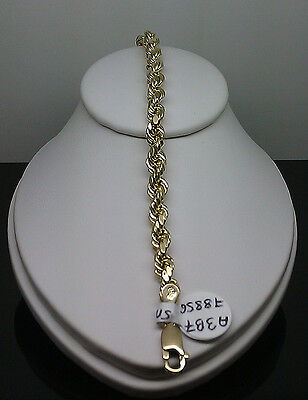 New Men's 10K Yellow Gold Thick Rope Bracelet  mm 7 Inches Mens/Ladies 5mm