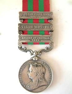 BRITISH-INDIAN-ARMY-MILITARY-INDIA-MEDAL-RELIEF-OF-CHITRAL-TIRAH-PUNJAB-3-BAR