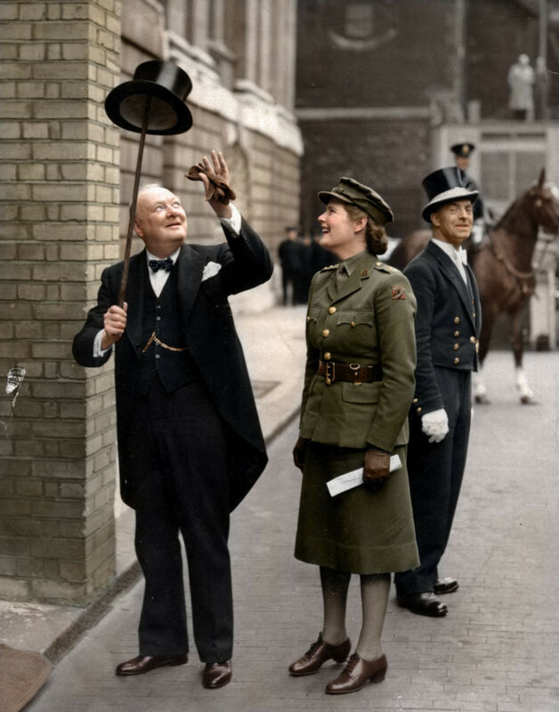 Winston Churchill With Daughter Mary London  Vintage  8x10 Photo Print