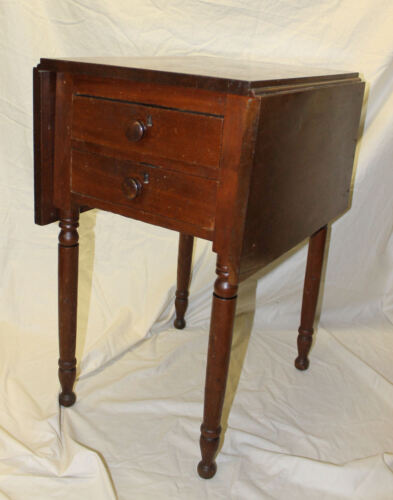 Antique Walnut Drop End Small Table - Has Two Small Drawers