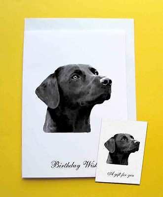 Black Labrador Retriever Dog Large Birthday Card & Gift Tag a choice of 5 verses ()