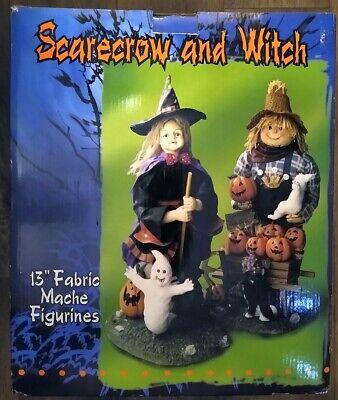 "13"" Fabric Mache Witch & Scarecrow Figurine Set - Halloween - FREE SHIPPING!!!"