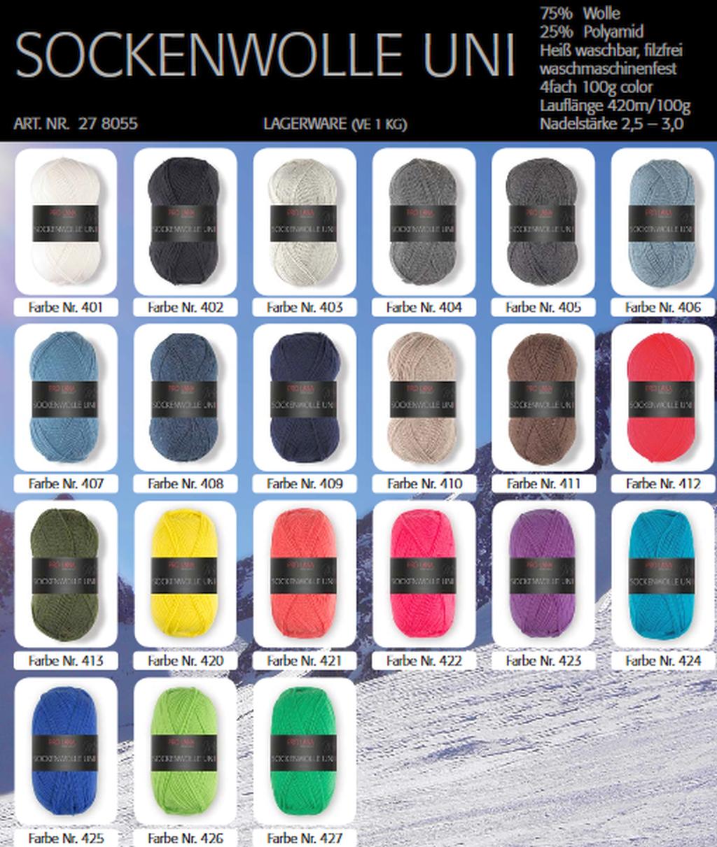 Pro Lana Sockenwolle uni 100 g 4 fädig alle Farben