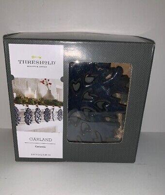 THRESHOLD Ceramic Garland BLUE SNOWFLAKE 5ft 11in L NIB Christmas Mantel - Christmas Mantel Decorations