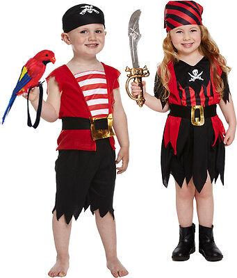 Pirat oder Piratin Kostüm 2-4 Jahre Kleinkind Jungen o. Mädchen Seeräuber Schiff ()